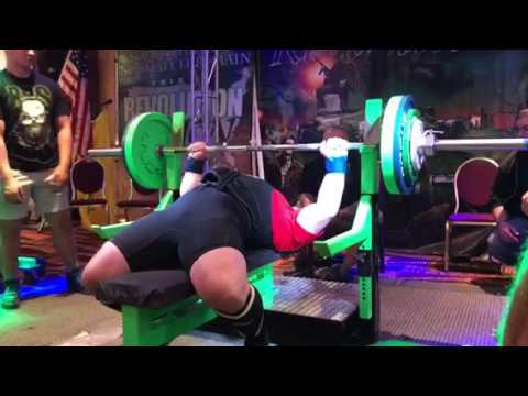 420 lbs competition bench press with coach Gary Miller