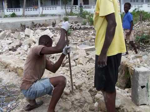 Rebuilding Haiti Vertical Concrete Mortar Sprayer