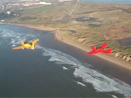 G-BYLF and G-CEZV in flight