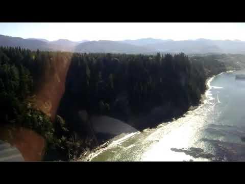 Flying low along the Strait of Jaun de Fuca