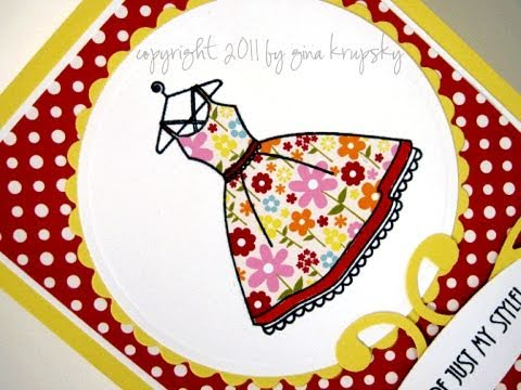 Paper Pieced Floral Dress Card