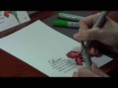 Stately Flowers 8- Simple Copic Coloring for a Single Layer Card- Melanie Muenchinger
