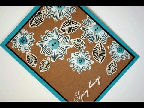 White Embossed Shabby Spring Card