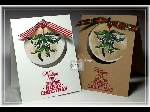 Reverse Masking and Removable Mistletoe Ornament Card