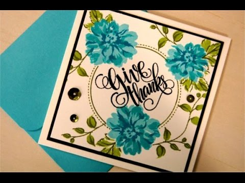 Painted Autumn in Blue- Stamping with Layered Stamps