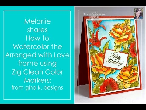 How to Watercolor a Stamped Frame with Zig Markers