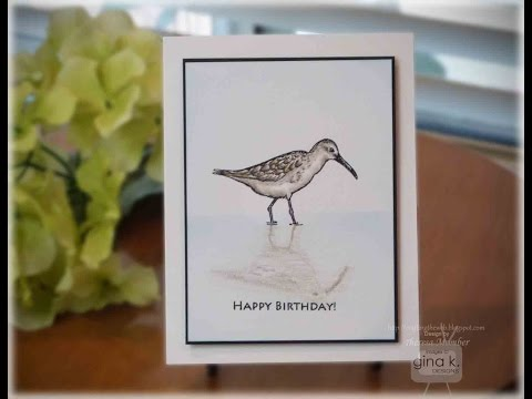 Colored Pencil Sandpiper Card