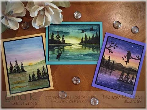 Watercolor Background Scene Cards