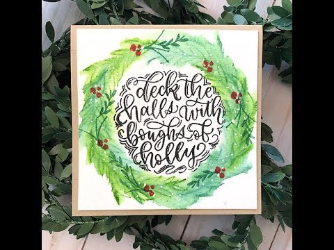 Card Tutorial: Watercolor Wreath for the Hollydays with Distress Inks