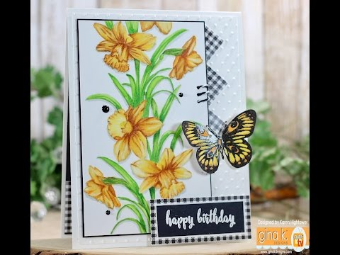 No Line Watercoloring Using Zig Clean Color Markers W/ Gina K. Designs  Sending Love Stamp Set