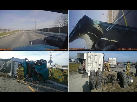 Dramatic dashboard footage shows big rig flipping on highway for NO apparent reason