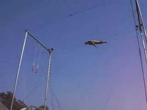 Tony Steele forward over pike. flying trapeze