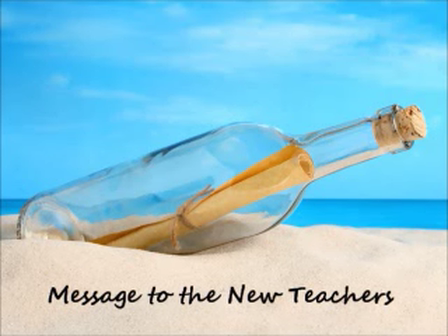 Message to the new teachers