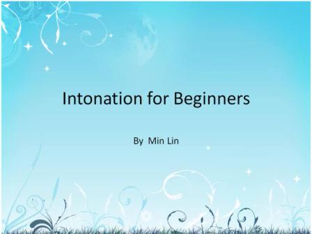 intonation for beginner students--Min Lin
