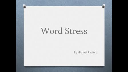 Word Stress with Michael Radford