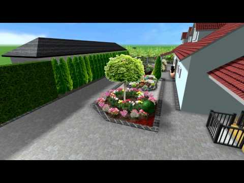 3D návrh dvora rodinného dvora