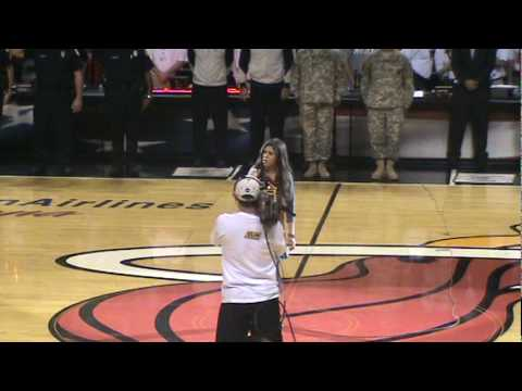 Elizabeth singing the National Anthem for the Miami Heat opening game