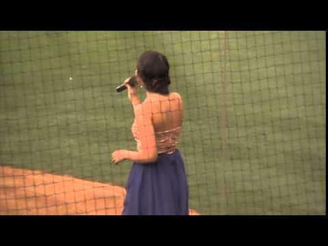 Lauretta Williams sings the National Anthem at a Las Vegas 51s game