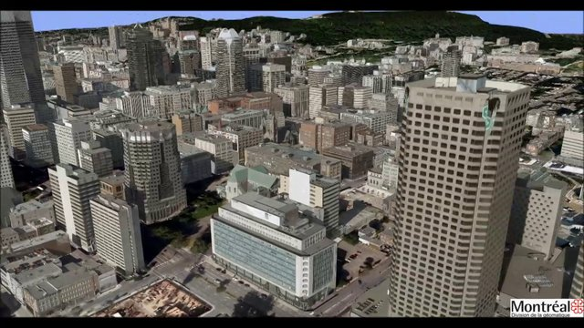 Animation of the City of Montreal:  Modeled in RhinoTerrain/Rhinocity.