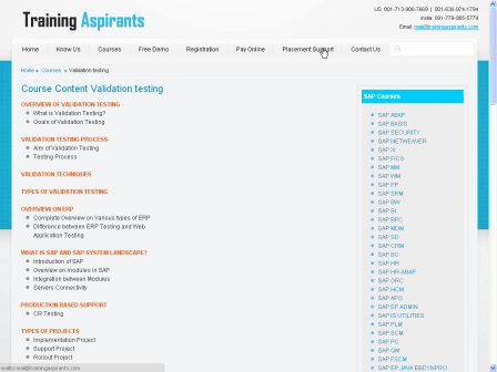 SAP Testing Course Conent | SAP Testing Online Training | Training Aspirants