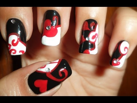 Oriental Swirls and Hearts - My 1st entry to VxHONEYxV8 Elegant Nail Art Subbie contest - Level 1