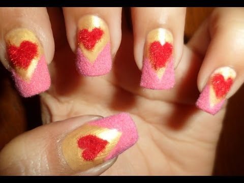 Red Plush Hearts in pink fluffy chevron nails