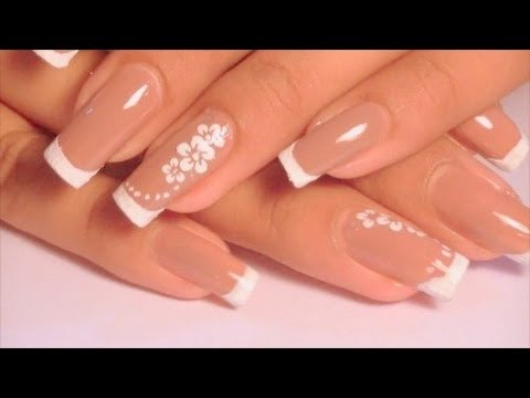 Nude square french nail design tutorial ( beautiful for brides )