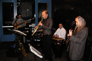 Backstage with my band Puro Queso Jazz
