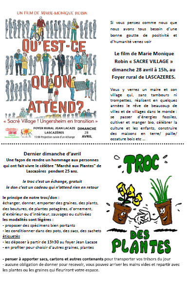 Invitation journée des alternatives à Lascazères le 28 avril