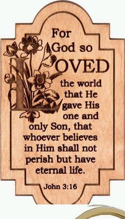 CORNER*3:16*STONE FAITH BASES JOHN 3:16 For GOD So Loved The World PHOTO