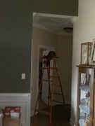 AK climbing down the ladder