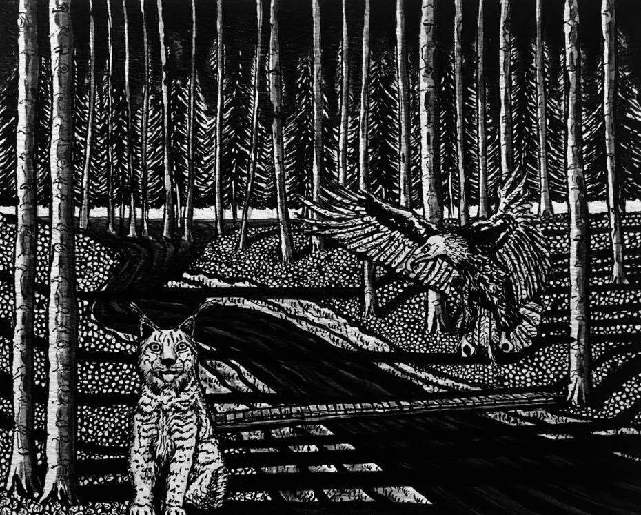 "© Ivo Kamphuis (IK 2019) ""Berkel"", 2019, Indian ink on paper, 24 x 30 cm www.ika.exto.nl"
