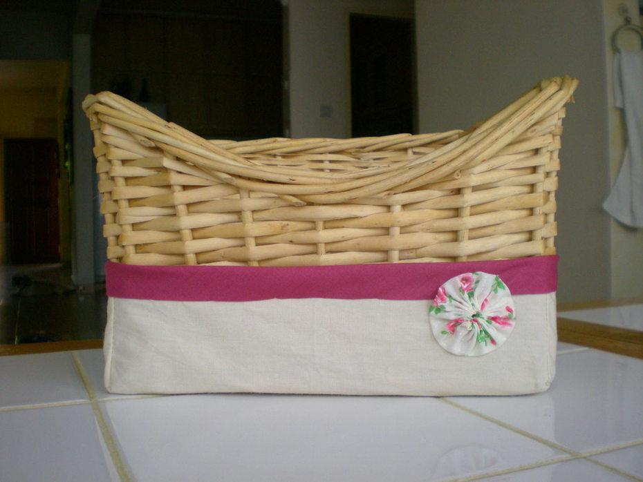 Ikea basket skirt with yo-yo flower