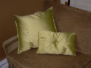green silk pillows