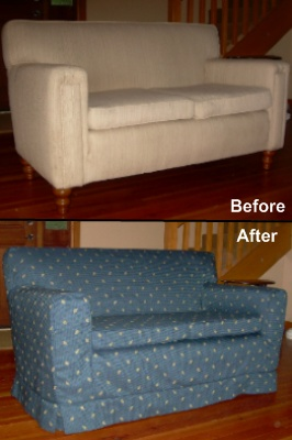 Slipcover in blue print