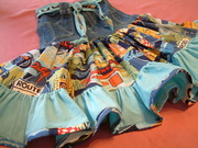 repurposed jeans and Route 66 fabric