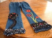 repurposed jeans with red and black