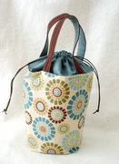 Drawstring pouch -tiles-