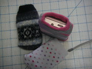 Recycled sock cozies for phone, camera, nintendo