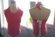 Coral Pink Laced Halter from a T-shirt