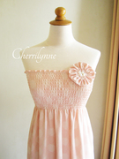 Smocked Tube Dress with Fabric Flower Brooch