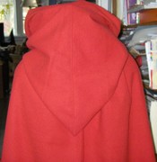 Back of red cape and hood