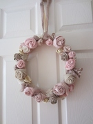 Faded pink Fabric Wreath