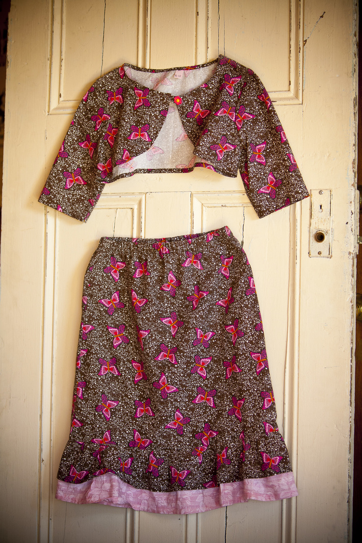Brown Skirt with Pink butterflies and matching Vest