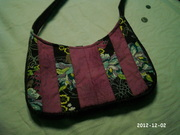 Plum Strip Quilted Purse
