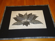 Modern Black and White Floral Wall Hanging with Applique and Embroidery