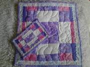 Pink White, + Purple Patchwork with Eyelet Trim