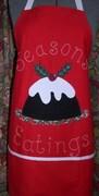 """""""Seasons Eatings"""" - Christmas Pudding Apron"""