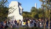Stone of Hope with Washington Monument in background