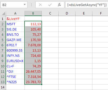 Live Stock Prices in Excel - GlobalRisk community